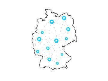 Deutschlandkarte mit vernetzen Punkten mit PIKSL Logo