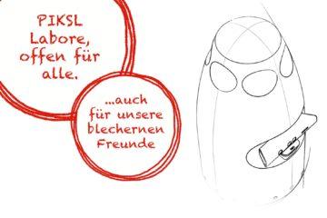 technische Zeichnung des Robotersystems SEPP, Schriftzug: PIKSL Labore, offen für alle - ... auch für unsere blechernen Freunde