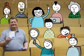 Ein Mann steht in einem Hörsaal mit Studierenden (Illustrationen)